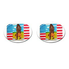 Big Foot,bison U,s,a, Flag Cufflinks (oval) by creationtruth