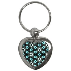Pale Blue Elegant Retro Key Chain (heart) by Colorfulart23