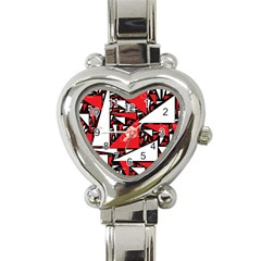 Titillating Triangles Heart Italian Charm Watch  by StuffOrSomething