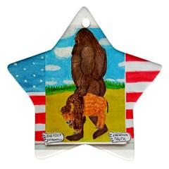 Big Foot,bison U,s,a, Flag Star Ornament by creationtruth