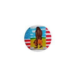 Big Foot,bison U,s,a, Flag 1  Mini Button Magnet by creationtruth