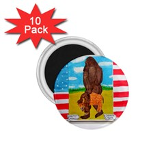 Big Foot,bison U,s,a, Flag 1 75  Button Magnet (10 Pack) by creationtruth