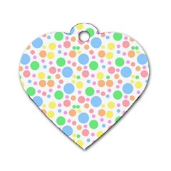 Pastel Bubbles Dog Tag Heart (one Sided)  by StuffOrSomething