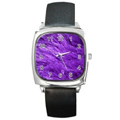 Purple Tresses Square Leather Watch
