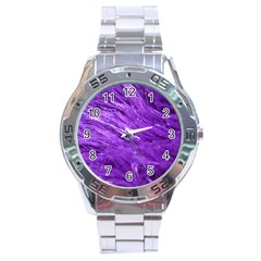 Purple Tresses Stainless Steel Watch by FunWithFibro