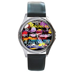 Chronic Pain Syndrome Round Leather Watch (silver Rim)