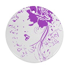 Purple Woman Of Chronic Pain Round Ornament by FunWithFibro