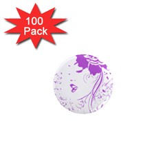 Purple Woman Of Chronic Pain 1  Mini Button Magnet (100 Pack) by FunWithFibro
