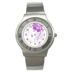 Purple Woman Of Chronic Pain Stainless Steel Watch (slim) by FunWithFibro