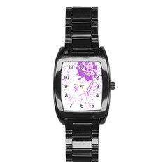 Purple Woman Of Chronic Pain Stainless Steel Barrel Watch by FunWithFibro