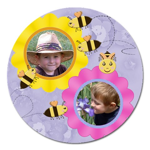 Flowers And Bees Round 5 Inch Magnet By Chere s Creations   Magnet 5  (round)   Bfumtp2fupmo   Www Artscow Com Front