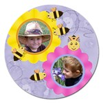 Flowers and Bees Round 5 inch Magnet - Magnet 5  (Round)