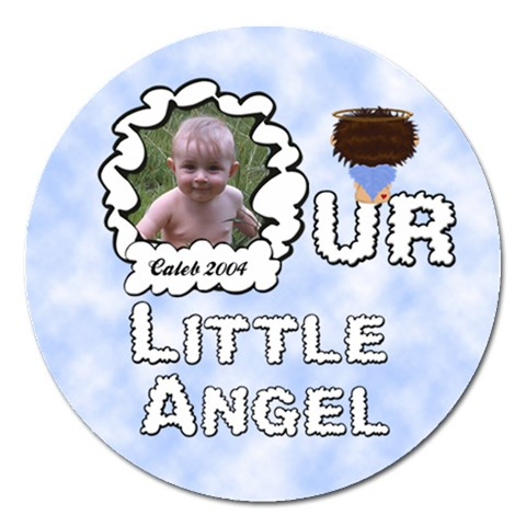 Our Little Angel Boy Round 5 Inch Magnet By Chere s Creations   Magnet 5  (round)   A8ukg3raqcmg   Www Artscow Com Front
