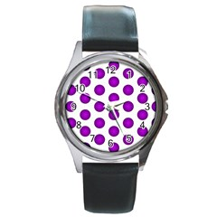 Purple And White Polka Dots Round Leather Watch (Silver Rim) by Colorfulart23