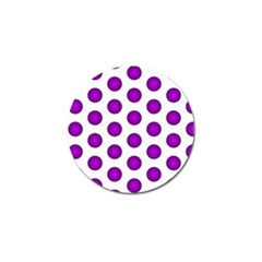 Purple And White Polka Dots Golf Ball Marker by Colorfulart23