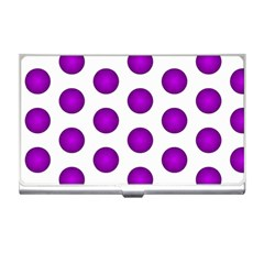 Purple And White Polka Dots Business Card Holder by Colorfulart23