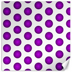 Purple And White Polka Dots Canvas 12  X 12  (unframed) by Colorfulart23