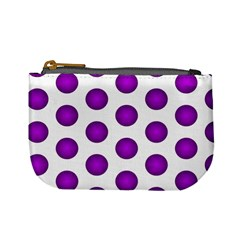 Purple And White Polka Dots Coin Change Purse by Colorfulart23