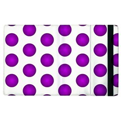 Purple And White Polka Dots Apple Ipad 3/4 Flip Case by Colorfulart23