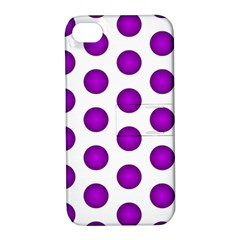 Purple And White Polka Dots Apple Iphone 4/4s Hardshell Case With Stand