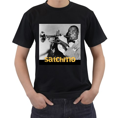 Louis Armstrong By Olg   Men s T Shirt (black)   2z5na79gsoz0   Www Artscow Com Front