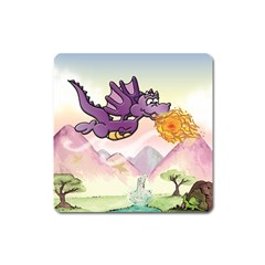 The Wee Purple Dragon Flying Magnet (square) by CaterinaBassano