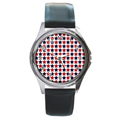 Patriot Stars Round Leather Watch (silver Rim) by StuffOrSomething