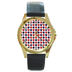 Patriot Stars Round Leather Watch (gold Rim)  by StuffOrSomething