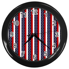 Patriot Stripes Wall Clock (black) by StuffOrSomething
