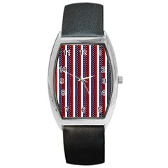 Patriot Stripes Tonneau Leather Watch by StuffOrSomething