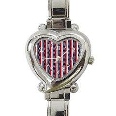 Patriot Stripes Heart Italian Charm Watch  by StuffOrSomething