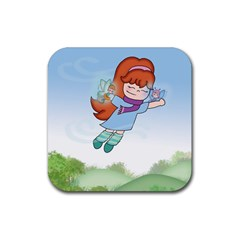 Fairy Flight Rubber Square Coaster (4 Pack) by CaterinaBassano