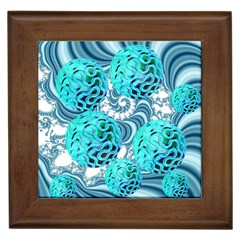 Teal Sea Forest, Abstract Underwater Ocean Framed Ceramic Tile by DianeClancy