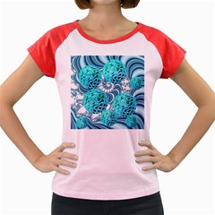 Teal Sea Forest, Abstract Underwater Ocean Women s Cap Sleeve T Shirt (colored) by DianeClancy