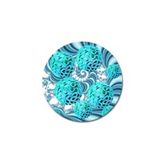 Teal Sea Forest, Abstract Underwater Ocean Golf Ball Marker by DianeClancy