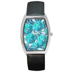 Teal Sea Forest, Abstract Underwater Ocean Tonneau Leather Watch by DianeClancy