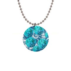 Teal Sea Forest, Abstract Underwater Ocean Button Necklace