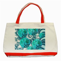 Teal Sea Forest, Abstract Underwater Ocean Classic Tote Bag (red)