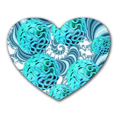 Teal Sea Forest, Abstract Underwater Ocean Mouse Pad (heart) by DianeClancy