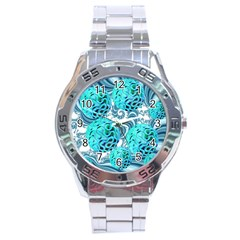 Teal Sea Forest, Abstract Underwater Ocean Stainless Steel Watch by DianeClancy