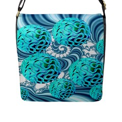 Teal Sea Forest, Abstract Underwater Ocean Flap Closure Messenger Bag (large) by DianeClancy