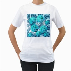 Teal Sea Forest, Abstract Underwater Ocean Women s T Shirt (white)  by DianeClancy