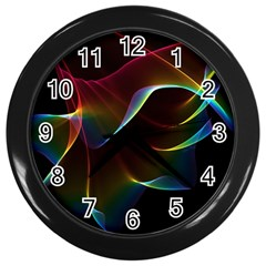 Imagine, Through The Abstract Rainbow Veil Wall Clock (black) by DianeClancy