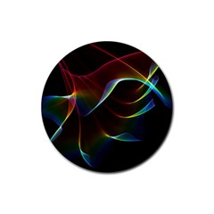 Imagine, Through The Abstract Rainbow Veil Drink Coaster (round) by DianeClancy
