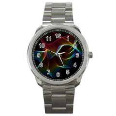 Imagine, Through The Abstract Rainbow Veil Sport Metal Watch by DianeClancy