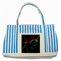 Imagine, Through The Abstract Rainbow Veil Blue Striped Tote Bag by DianeClancy