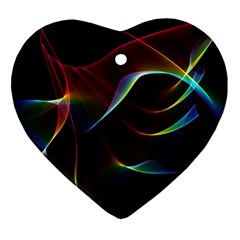 Imagine, Through The Abstract Rainbow Veil Heart Ornament (two Sides) by DianeClancy