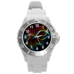 Imagine, Through The Abstract Rainbow Veil Plastic Sport Watch (large) by DianeClancy