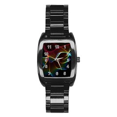 Imagine, Through The Abstract Rainbow Veil Stainless Steel Barrel Watch by DianeClancy