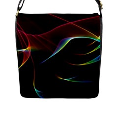 Imagine, Through The Abstract Rainbow Veil Flap Closure Messenger Bag (large) by DianeClancy